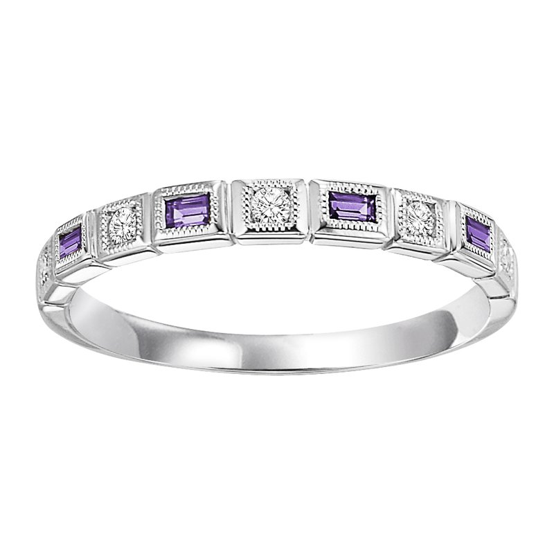 Mixables 10K Amethyst & Diamond Mixable Ring
