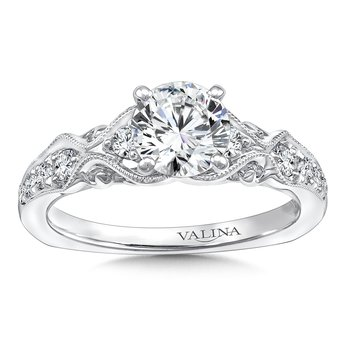 Engagement Ring With Diamond Side Stones in 14K White Gold (0.29 ct. tw.)