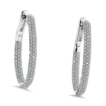 Pave set Diamond Hoops in 14k White Gold (1.05ct. tw.) GH/SI1-SI2