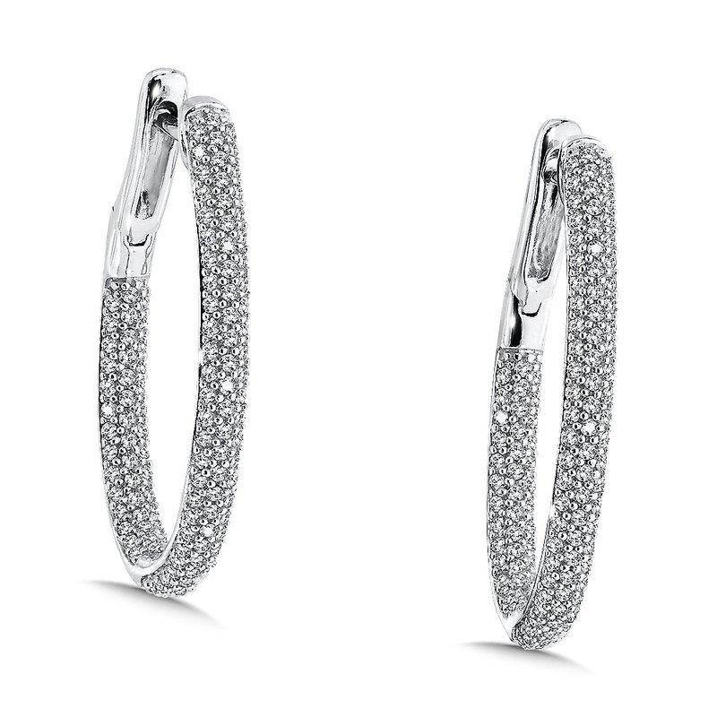 SDC Creations Pave set Diamond Hoops in 14k White Gold (1.05ct. tw.) GH/SI1-SI2