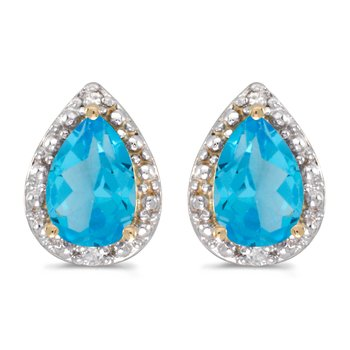 10k Yellow Gold Pear Blue Topaz And Diamond Earrings