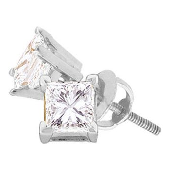 14kt White Gold Unisex Princess Diamond Solitaire Stud Earrings 1/4 Cttw