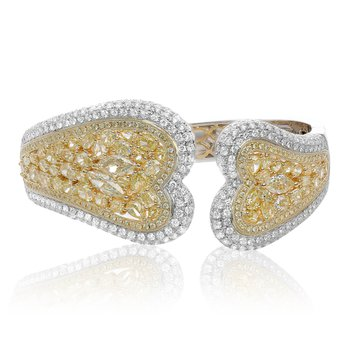 Heartshaped Diamond Cluster Bangle
