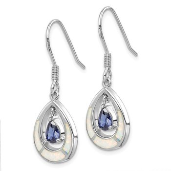 Sterling Silver Rhod-plated Created Opal / Blue CZ Teardrop Earrings