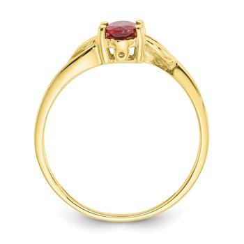 10k Polished Geniune Garnet Birthstone Ring