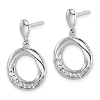 Sterling Silver Rhodium-plated CZ Swirled Circle Post Earrings