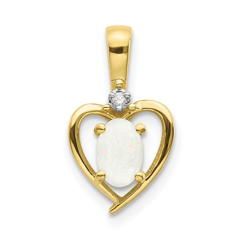 Quality Gold 10K Diamond and Opal Pendant