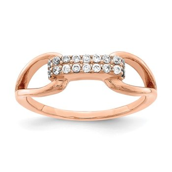 Sterling Silver Rose-tone Rectangular CZ Ring