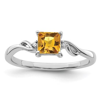 Sterling Silver Rhodium Plated Diamond & Citrine Square Ring