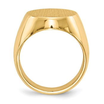 14k 18.5x14.5mm Closed Back Men's Signet Ring