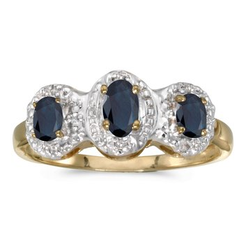14k Yellow Gold Oval Sapphire And Diamond Three Stone Ring