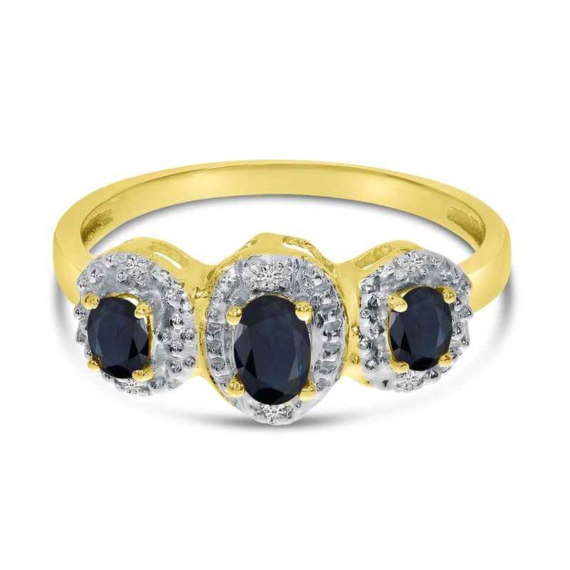Color Merchants 14k Yellow Gold Oval Sapphire And Diamond Three Stone Ring