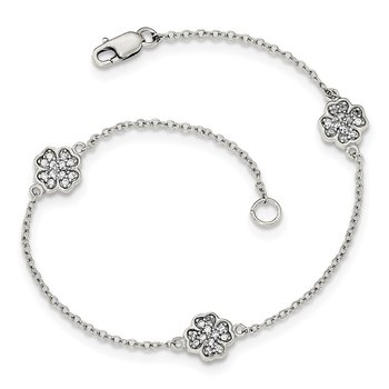 Sterling Silver Polished CZ Four Leaf Clover Bracelet