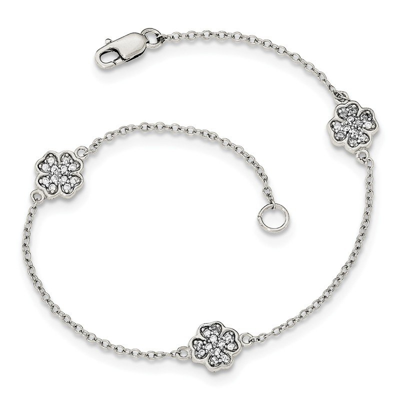 Fine Jewelry by JBD Sterling Silver Polished CZ Four Leaf Clover Bracelet