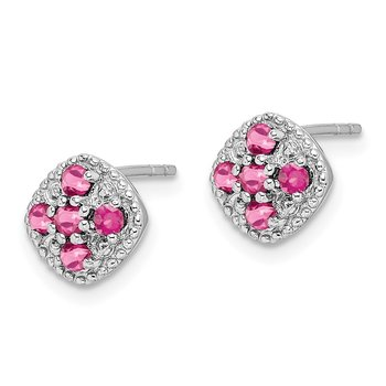 Sterling Silver Rhodium-plated Pink Tourmaline Square Earrings