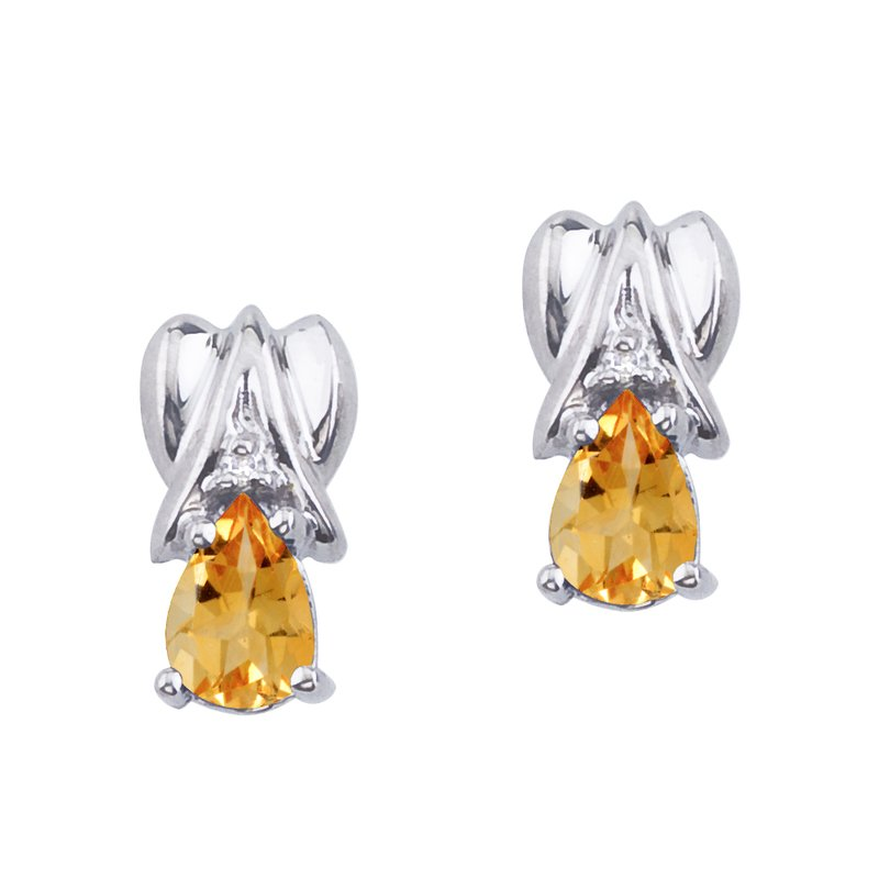 14k White Gold Citrine and Diamond Pear Shaped Earrings