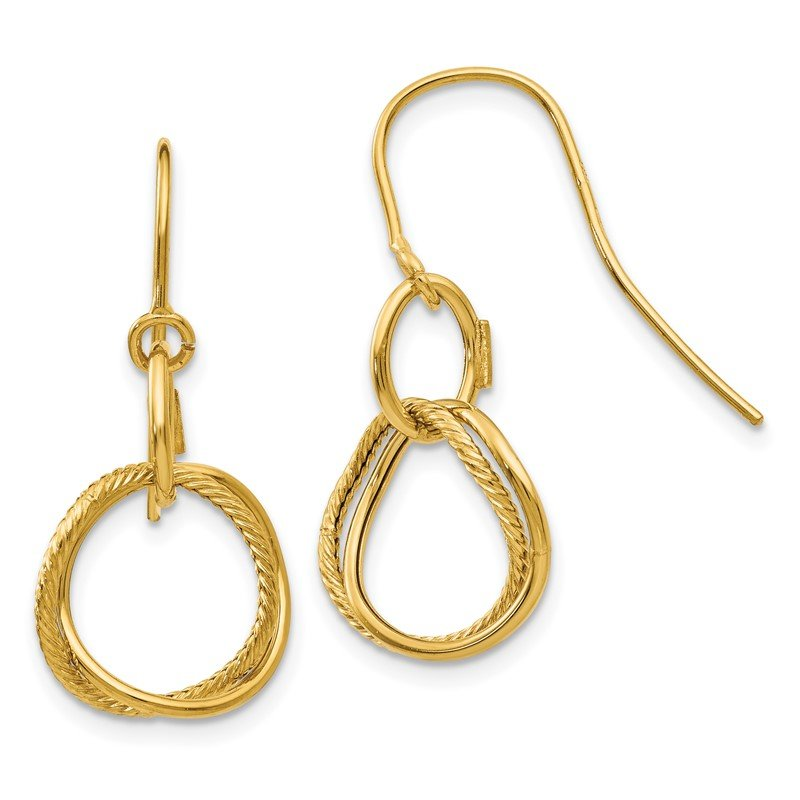 Quality Gold 14K Small Twisted Circle Shepherd Hook Earrings
