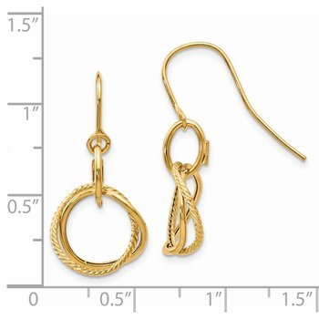 14K Small Twisted Circle Shepherd Hook Earrings