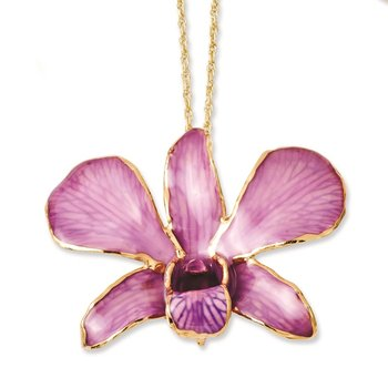 Lacquer Dipped Gold Trimmed Hot Lavender Dendrobium Orchid Necklace
