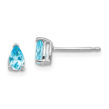 14k White Gold 5x3mm Pear Blue Topaz Earrings