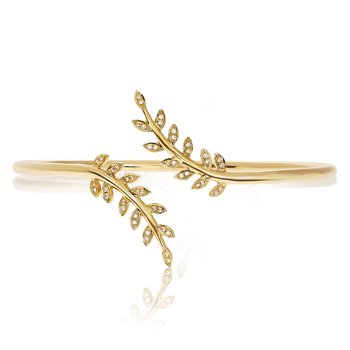 Yellow Gold Leaf Bangle