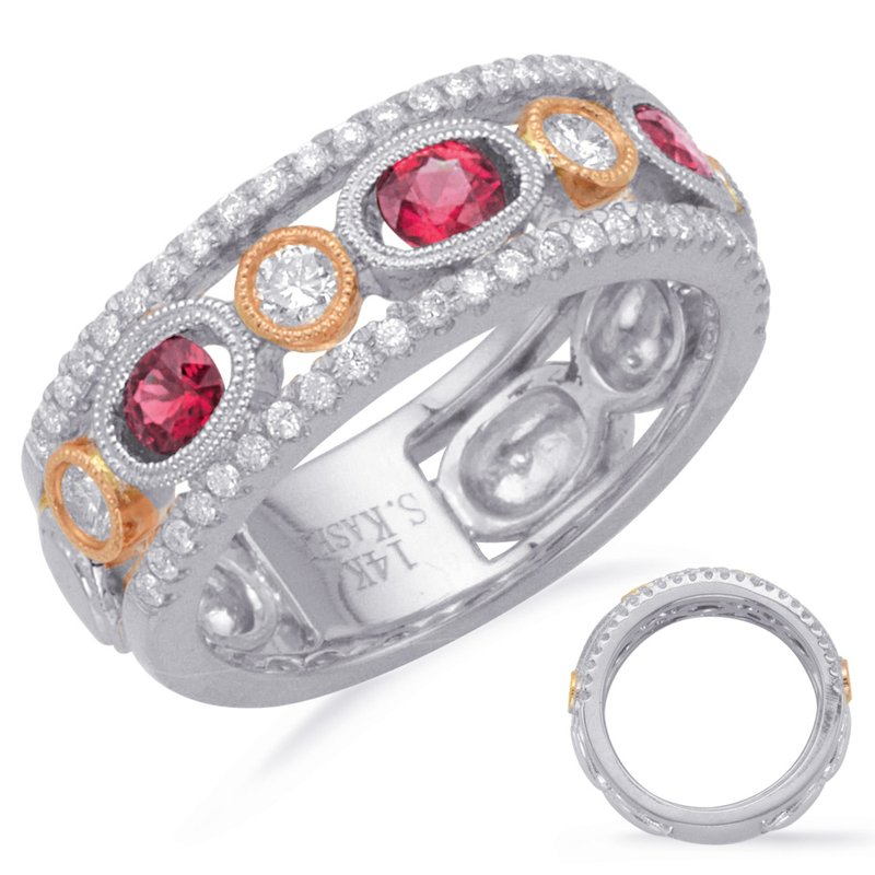 S. Kashi  & Sons Rose & White Ruby & Diamond Ring