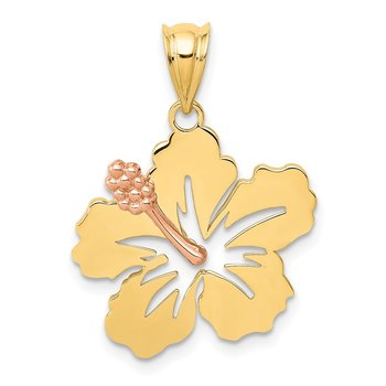 14k Yellow and Rose Gold Hibiscus Flower Pendant