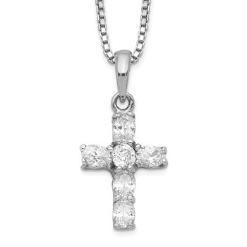 Sterling Silver Rhodium-plated CZ Cross Necklace