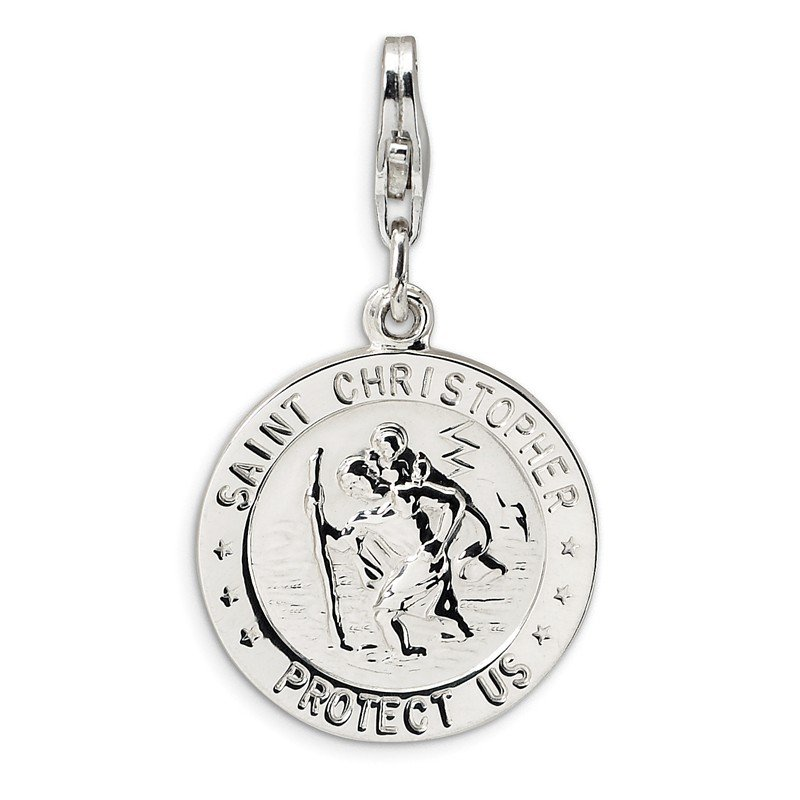 Fine Jewelry by JBD Sterling Silver St. Christopher Medal w/Lobster Clasp Charm