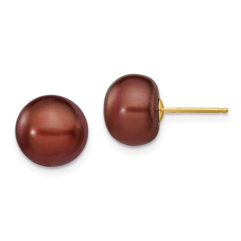 Quality Gold 14k 9-10mm Coffee Button Freshwater Cultured Pearl Stud Post Earrings
