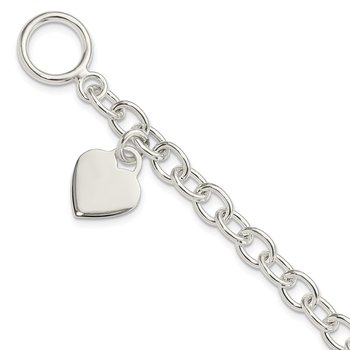 Sterling Silver Dangling Engraveable Heart Charm Bracelet