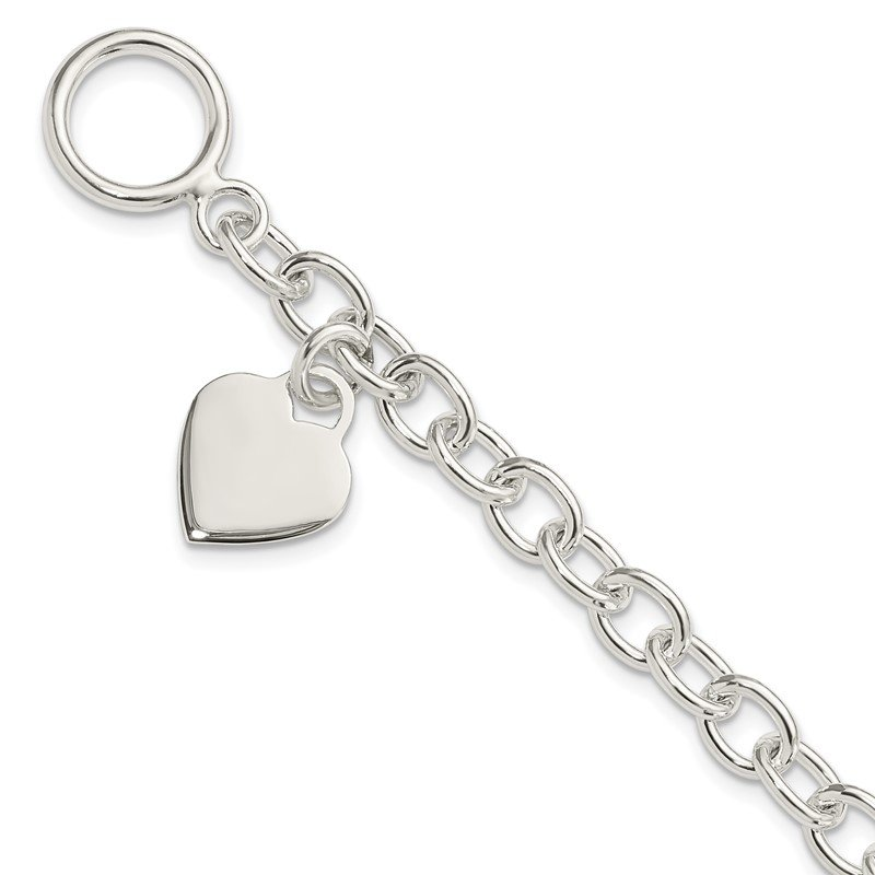 Quality Gold Sterling Silver Dangling Engraveable Heart Charm Bracelet