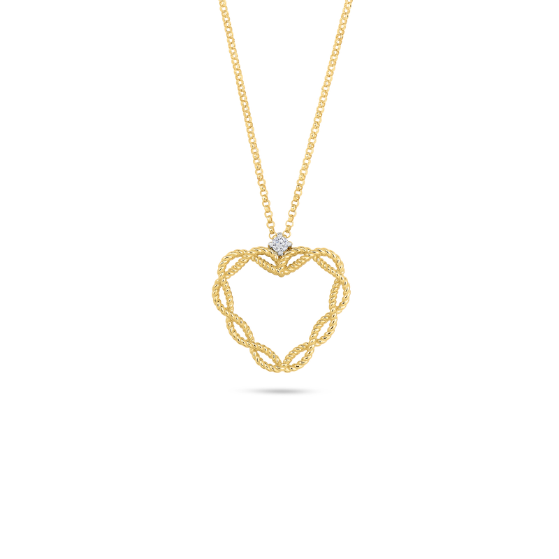 Roberto Coin 18Kt Gold Heart Pendant With Diamonds