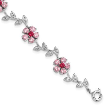 Sterling Silver Rhod-plated 7.75in Pink and Clear CZ Flower Bracelet