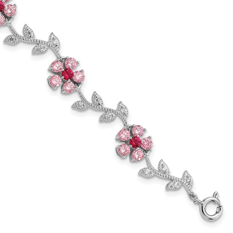 Quality Gold Sterling Silver Rhod-plated 7.75in Pink and Clear CZ Flower Bracelet