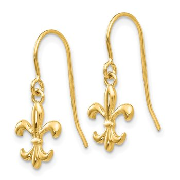 14k Fleur de lis Dangle Earrings