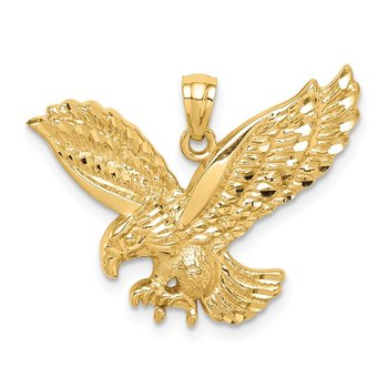 14K Diamond-cut Eagle Pendant