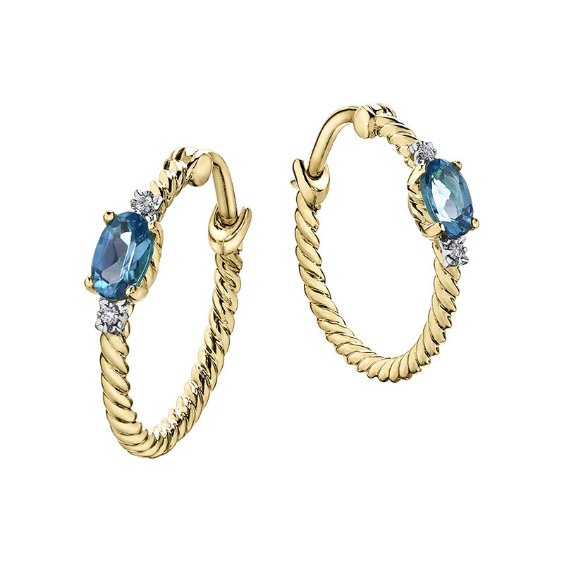 D of D Signature Blue Topaz Hoop Earrings