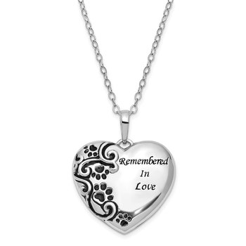 Sterling Silver Antiqued Remembered in Love Pet 18in. Necklace