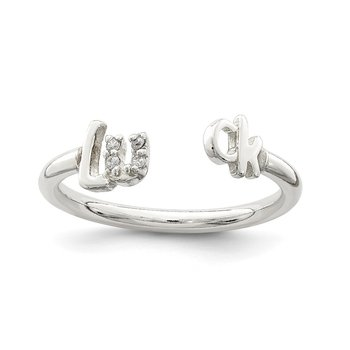 Sterling Silver Polished CZ 'Luck' Adjustable Ring