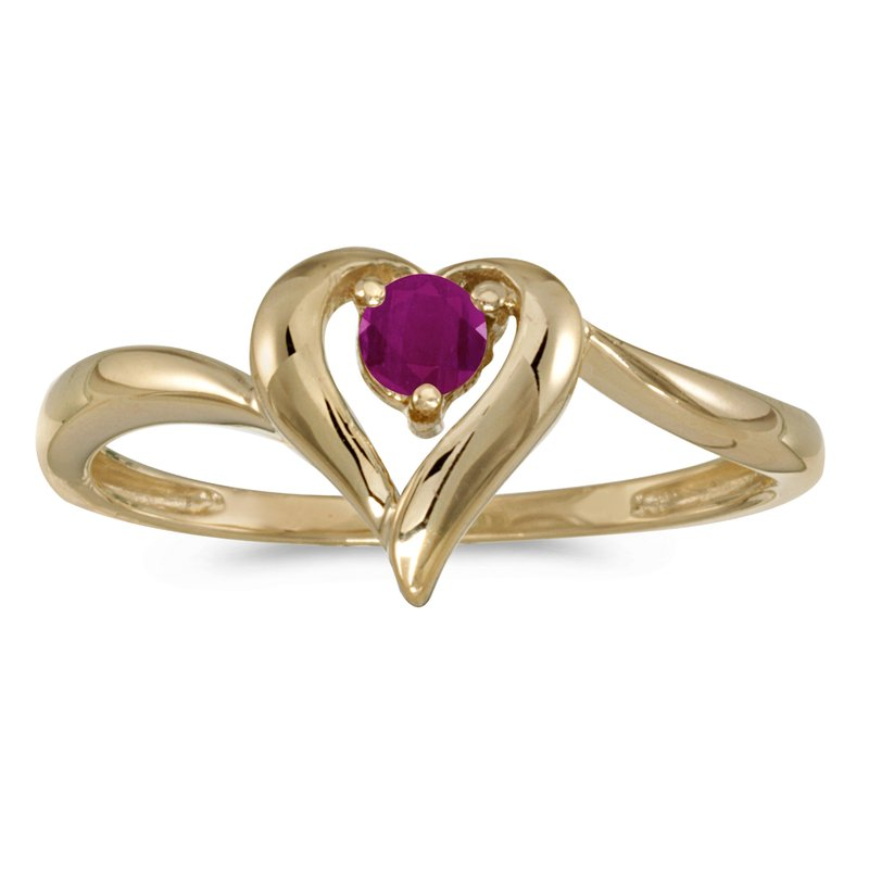 Color Merchants 10k Yellow Gold Round Ruby Heart Ring