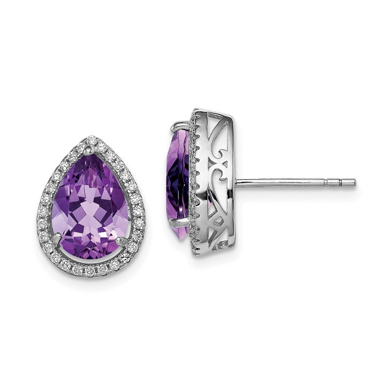 Quality Gold Sterling Silver Rhodium Polished Amethyst & CZ Post Earrings