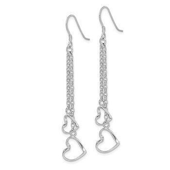 Sterling Silver Rhodium-plated Heart Dangle Shepherd Hook Earrings