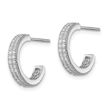 Sterling Silver Rhodium-plated CZ 14x3.5mm C-Hoop Post Earrings
