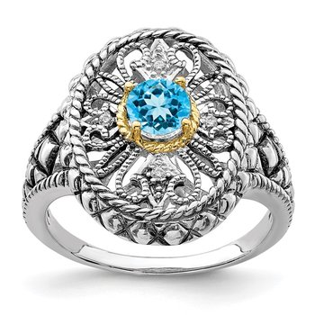 Sterling Silver Rhodium w/14k Accent Blue Topaz & CZ Oval Fancy Ring