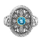 Quality Gold Sterling Silver Rhodium w/14k Accent Blue Topaz & CZ Oval Fancy Ring