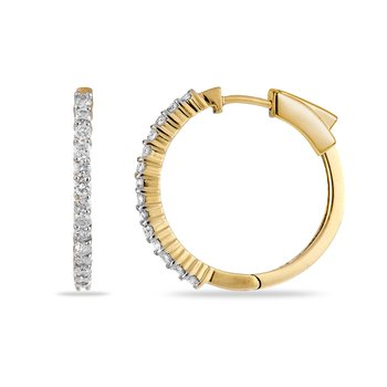 14K YG Diamond Hoops and Huggies Earring
