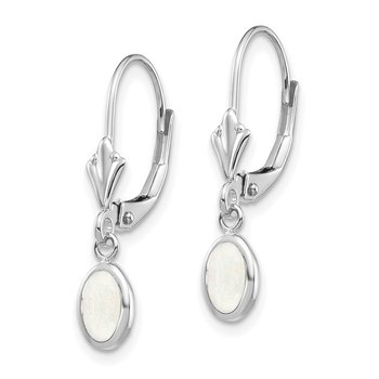14k White Gold 6x4 Oval Bezel October/Opal Leverback Earrings