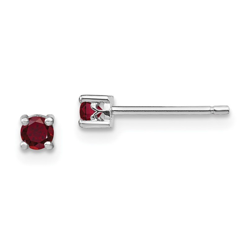 Quality Gold Sterling Silver 3mm Round Created Ruby Post Earrings