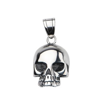 Steel Black Eye Open Jaw Skull Pendant